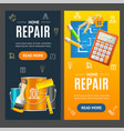 home repair service banner vecrtical set vector image vector image