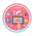 Internet shopping concept with monitor screen vector image vector image