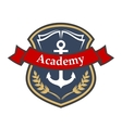 Maritime academy badge with shield and anchor vector image vector image