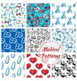Medications medical seamless patterns set vector image vector image