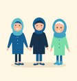 muslim girls or women wearing hijabs vector image