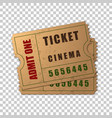 realistic two vintage cinema tickets isolated vector image