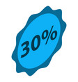 sale 30 percent emblem icon isometric style vector image vector image