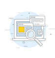 seo and smm icon - laptop with open windows and vector image vector image