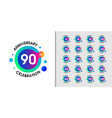 set modern anniversary logotype colorful vector image vector image