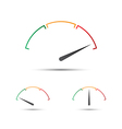 Set of simple tachometer with indicator in red vector image vector image