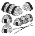 set onigiri in engraving style design vector image