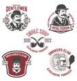 set smokers club gentlemen club labels design vector image