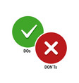 simple positive and negative symbols dos and vector image