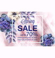spring sale banner with blue flowers and marble vector image