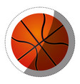 sticker colorful silhouette with basketball ball vector image