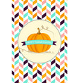 thanksgiving background with pumpkin vector image vector image