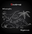 velociraptor and stegosaurus on chalk vector image vector image