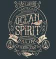 vintage ocean spirit adventure badge vector image vector image