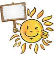 sun cartoon with signboard vector image