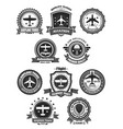 aviation badges and air trip tour symbols vector image