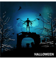 Halloween grunge background with evil angel and vector image