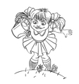 Little girl with watering can vector image
