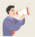 a cartoon man speaking into a megaphone vector image