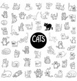black and white cats large set vector image