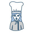 blue silhouette with half body of female chef vector image vector image