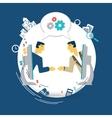 businessmen talking about work via Skype vector image