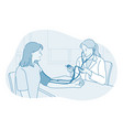 cardiologist and measuring blood pressure concept vector image