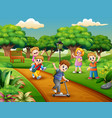 cartoon group children playing in park vector image vector image