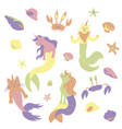 caticorns and unicorns mermaid vector image