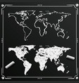 chalkboard sketch hand drawn world map vector image