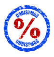 christmas discount percent rubber stamp isolated vector image vector image