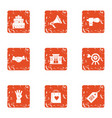 create love icons set grunge style vector image vector image