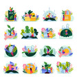 ecology nature flat icons vector image