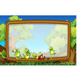 Frame template with frogs in the garden vector image vector image