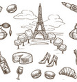 france sketch pattern background seamless vector image vector image