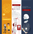 futuristic robots infographics banners set vector image vector image