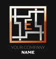 golden letter e logo symbol in the square maze vector image vector image