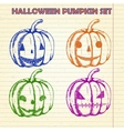 Halloween pumpkin sketches set vector image