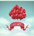 holiday composition with red balloons and ribbon vector image