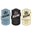 labels for rum with sailing ship and inscriptions vector image