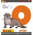 letter o from alphabet with otter animal character