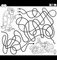 line maze with cartoon gorilla and fruits vector image vector image