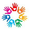 Loving Hand Print icon 7 colors vector image