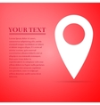 Map pin flat icon on red background Adobe vector image vector image