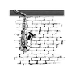 musical instruments saxophone on the brick wall vector image vector image