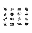 Needlework icons for sewing knitting needlework vector image