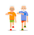 old people and sport walking grandparents perform vector image