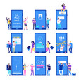 phone app and people small flat characters vector image vector image