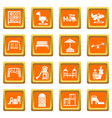 playground equipment icons set orange square vector image vector image