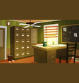 private detective office interior cartoon vector image vector image